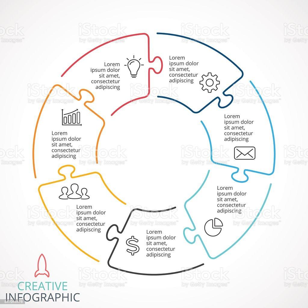 Vector circle arrows puzzle infographic, cycle diagram, linear graph, presentation vector art illustration