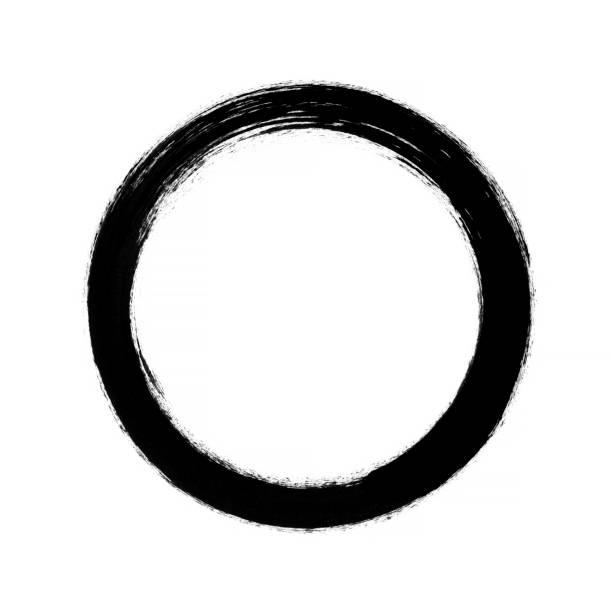 ilustrações, clipart, desenhos animados e ícones de frame de traçado de pincel vetor círculo isolado no fundo branco - texturas desgastadas