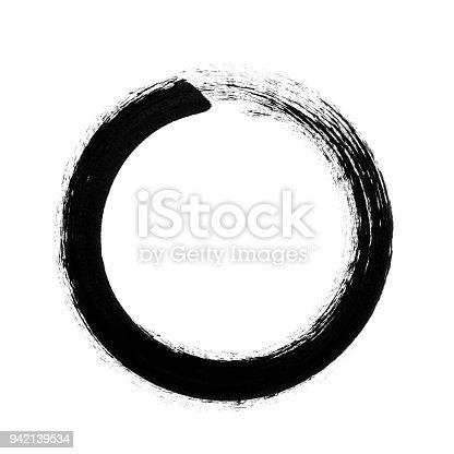 Vector circle brush stroke frame isolated on white background