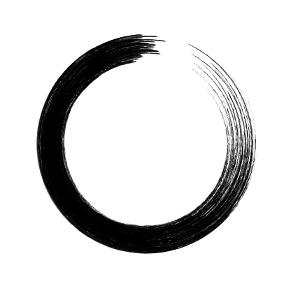 Vector circle brush stroke isolated on white background