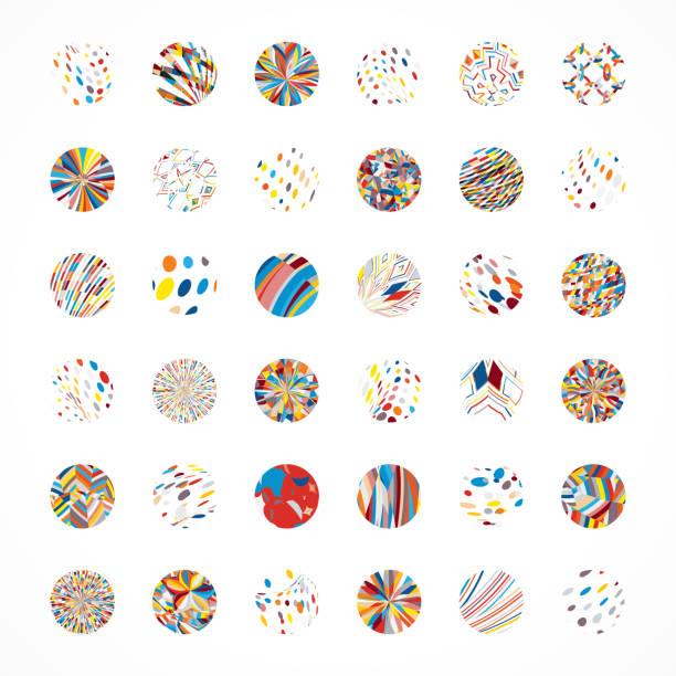 ilustrações de stock, clip art, desenhos animados e ícones de vector circle buttons collection - mosaicos flores