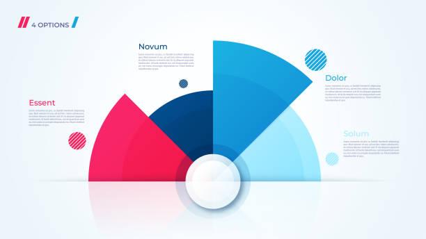 Vector circle chart design, modern infographic template - ilustração de arte vetorial