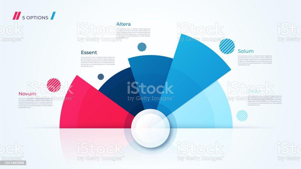 Diseño gráfico círculo vectorial, moderno plantilla para la creación de infografías, presentaciones, informes, visualizaciones. - ilustración de arte vectorial