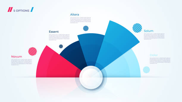 vector circle chart design, modern template for creating infographics, presentations, reports, visualizations. - infographics stock illustrations, clip art, cartoons, & icons