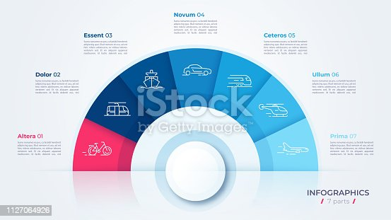 Vector circle chart design, modern template for creating infographics, presentations, reports, visualizations. Global swatches