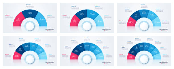Vector circle chart design, modern templates for creating infographics Vector circle chart design, modern templates for creating infographics, presentations, reports, visualizations pie chart stock illustrations
