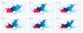 Vector circle chart designs, templates for creating infographics, presentations, reports, visualizations. 5 6 7 8 9 10 options Global swatches