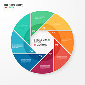 Vector circle chart infographic template for data visualization. 8 options, steps, parts.