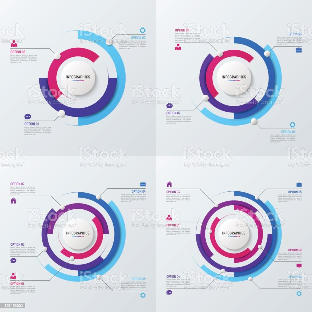 Vector Circle Chart Infographic Templates For Data Visualization 3 4