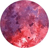 Vector Circle Design Element with Watercolor Texture in Red and Purple