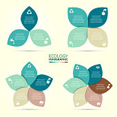 Vector circle eco infographic. Ecology template for diagram, graph, presentation and chart. Environmental care concept with 3, 4, 5, 6, 7 and 8 options, parts, steps or processes.