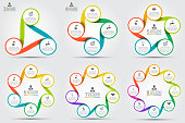 Vector circle element for infographic. Template for cycle diagram, graph, presentation and round chart. Business concept with 3, 4, 5, 6, 7 and 8 options, parts, steps or processes.