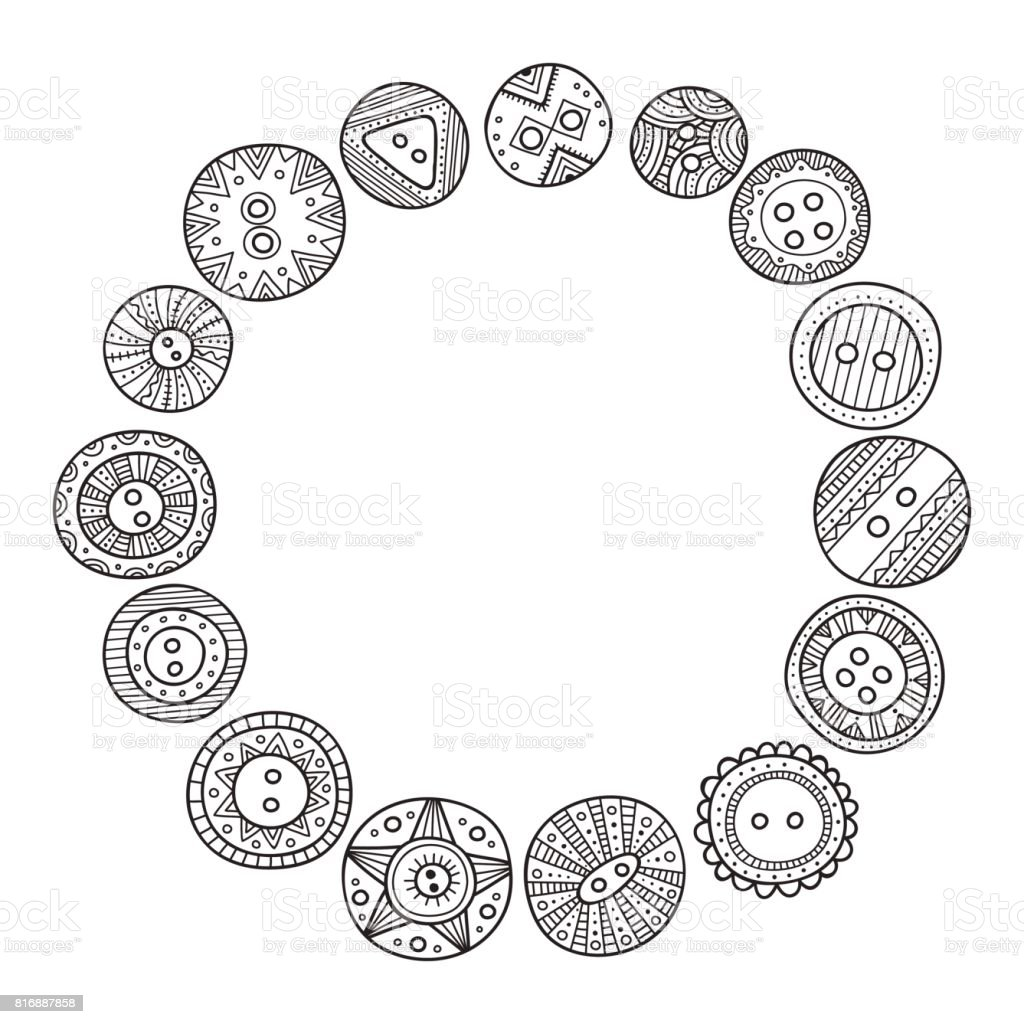 Vector Circle Frame With Cloth Buttons In Boho Style Stock Vector ...