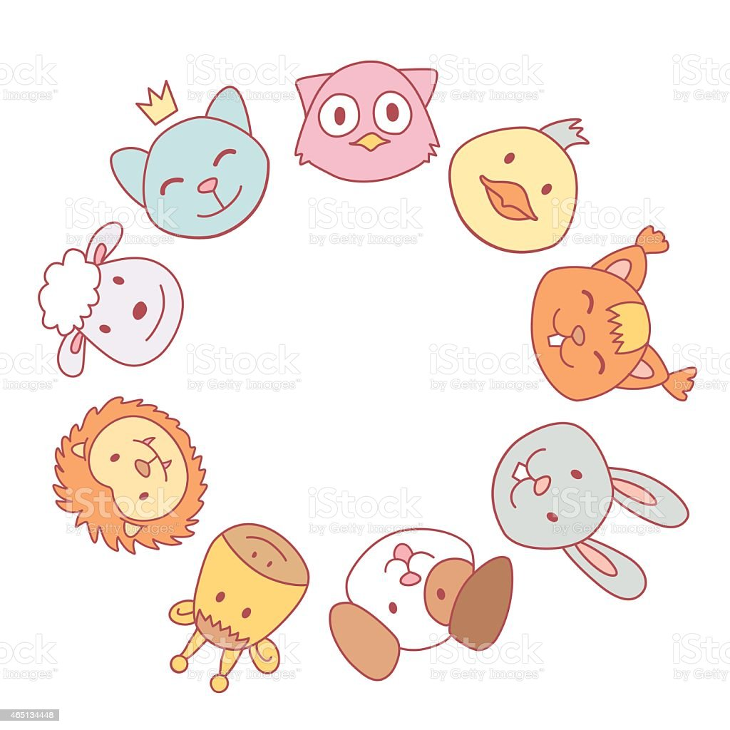 Vector Circle Frame With Funny Cute Animals Stock Vector ...