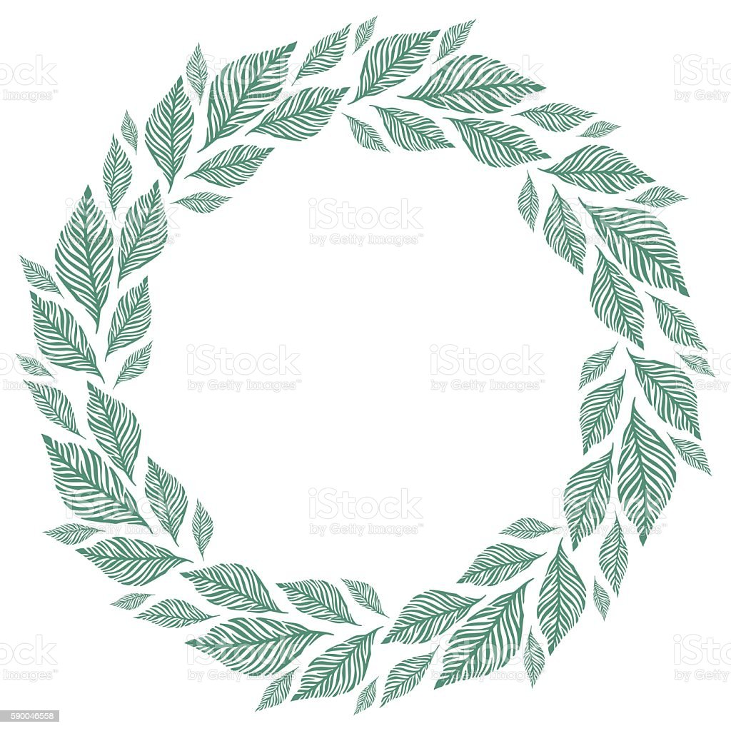 Vector Circle Frame Wreath Made Of Leaves Circle Decoration Stock ...