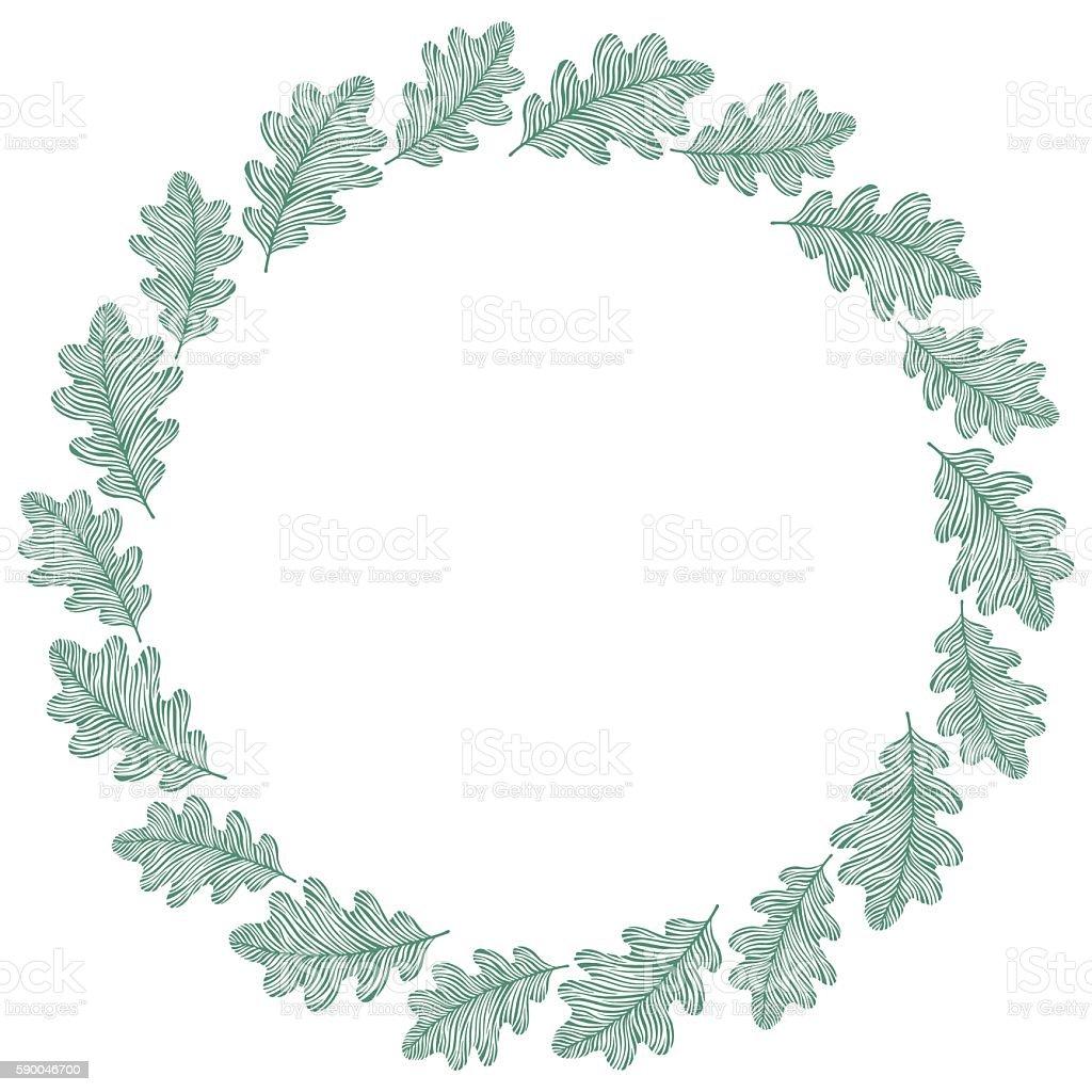 vector circle frame wreath made of oak leaves stock vector art