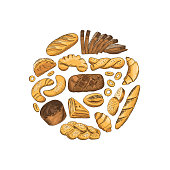 Vector circle made from hand drawn colored bakery elements illustration