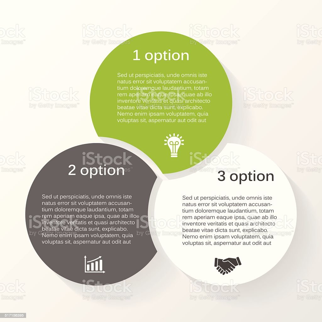 Vector circle infographic diagram 3 options vector art illustration