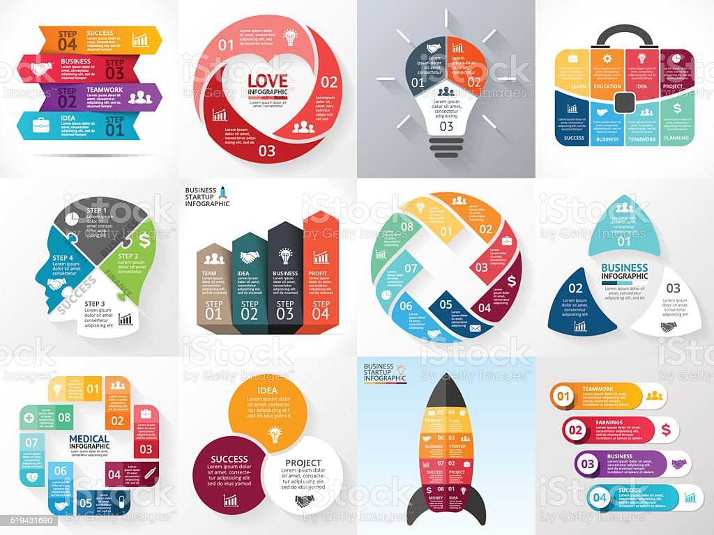 Vector circle infographic set. Business diagrams, arrows graphs, startup logo vector art illustration