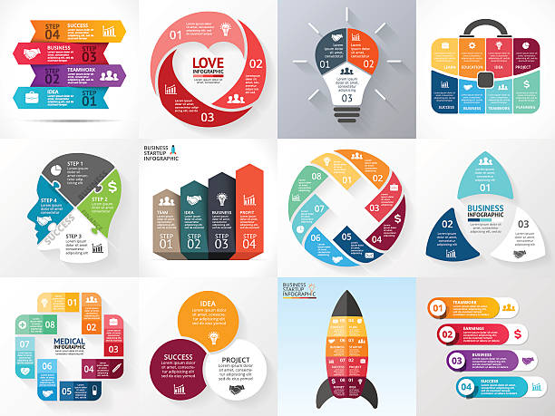 Vector circle infographic set. Business diagrams, arrows graphs, startup logo Layout for your options or steps. Abstract template for background. conceptual symbol stock illustrations