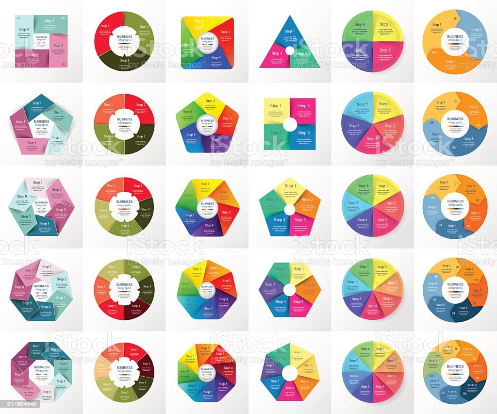 Vector circle infographic set. vector art illustration