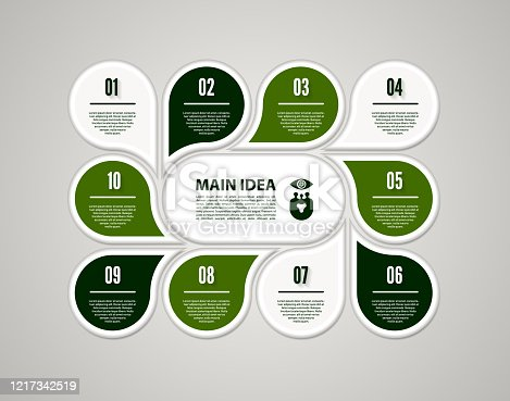 istock Vector circle infographic. Template for cycle diagram, graph, presentation and round chart. Business concept with 10 options, parts, steps or processes. Abstract background. 1217342519