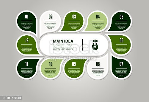 istock Vector circle infographic. Template for cycle diagram, graph, presentation and round chart. Business concept with 12 options, parts, steps or processes. Abstract background. 1218156649