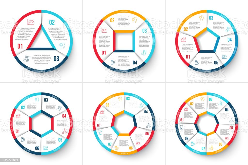 Vector circle infographic. Template for cycle diagram, graph, presentation and round chart. Business concept with 3, 4, 5, 6, 7 and 8 options, parts, steps or processes. Data visualization. royalty-free vector circle infographic template for cycle diagram graph presentation and round chart business concept with 3 4 5 6 7 and 8 options parts steps or processes data visualization stock illustration - download image now