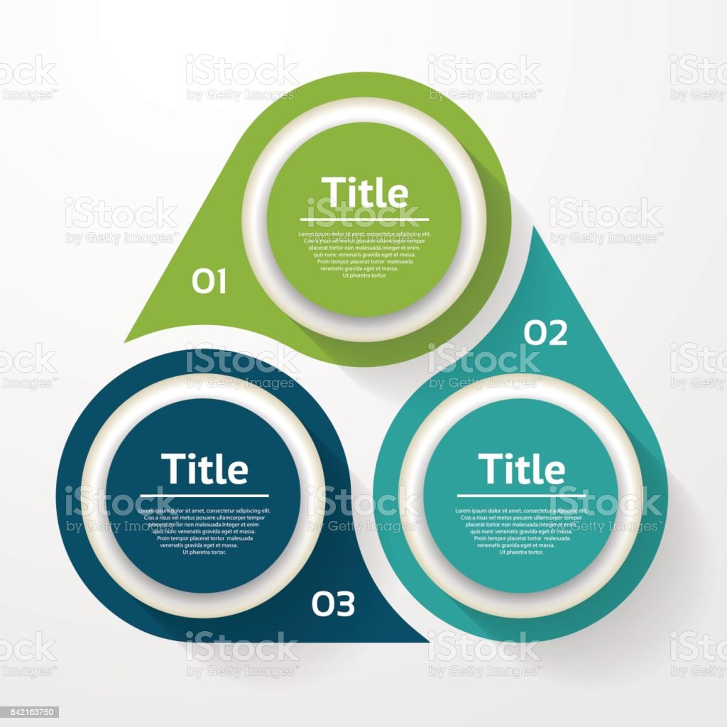 Vector circle infographic. Template for diagram, graph, presentation and chart. Business concept with three options, parts, steps or processes. Abstract background. - ilustração de arte vetorial