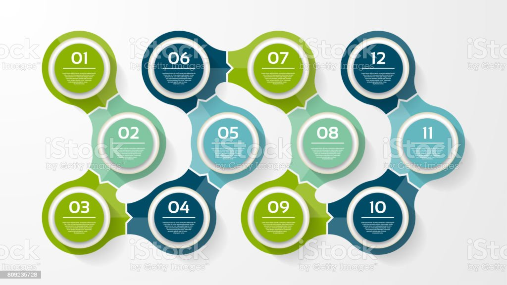 Vector circle infographic. Template for diagram, graph, presentation and chart. Business concept with 12 options, parts, steps or processes. Abstract background. vector art illustration