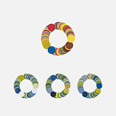 Vector circle pattern ring symbol collection