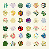 Vector illustration 36 colors circle pattern buttons