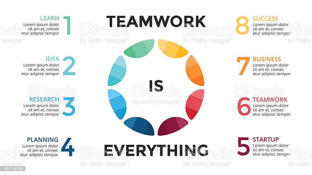 Vector Circle Teamwork Infographic Cycle Diagram Graph