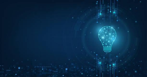 wektor koło tech z jasnoniebieskim i żarówki na tle technologii. - futurystyczny stock illustrations