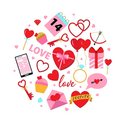 Vector circle with romantic symbols for Valentines day, wedding, love.