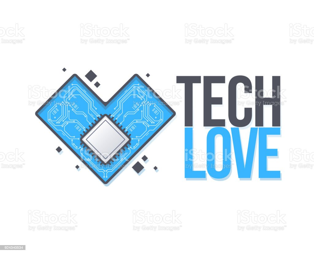 Vector Circuit Board Background With Heart Technology Concept Place For Text Template An Inscription Tech Love
