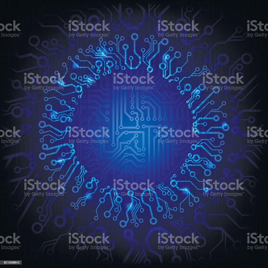 Vector circuit board background with the glowing circle vector circuit board background with the glowing circle - immagini vettoriali stock e altre immagini di affari finanza e industria royalty-free