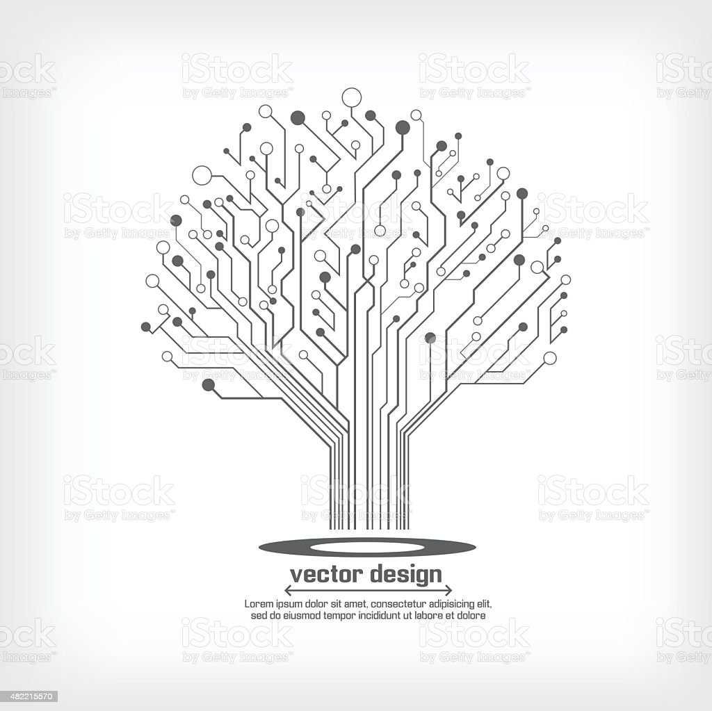 vector circuit board electronic tree stock vector art