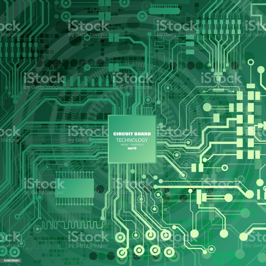 Vector Circuit Board Illustration Abstract Technology Microchip Image Of The Background Royalty Free