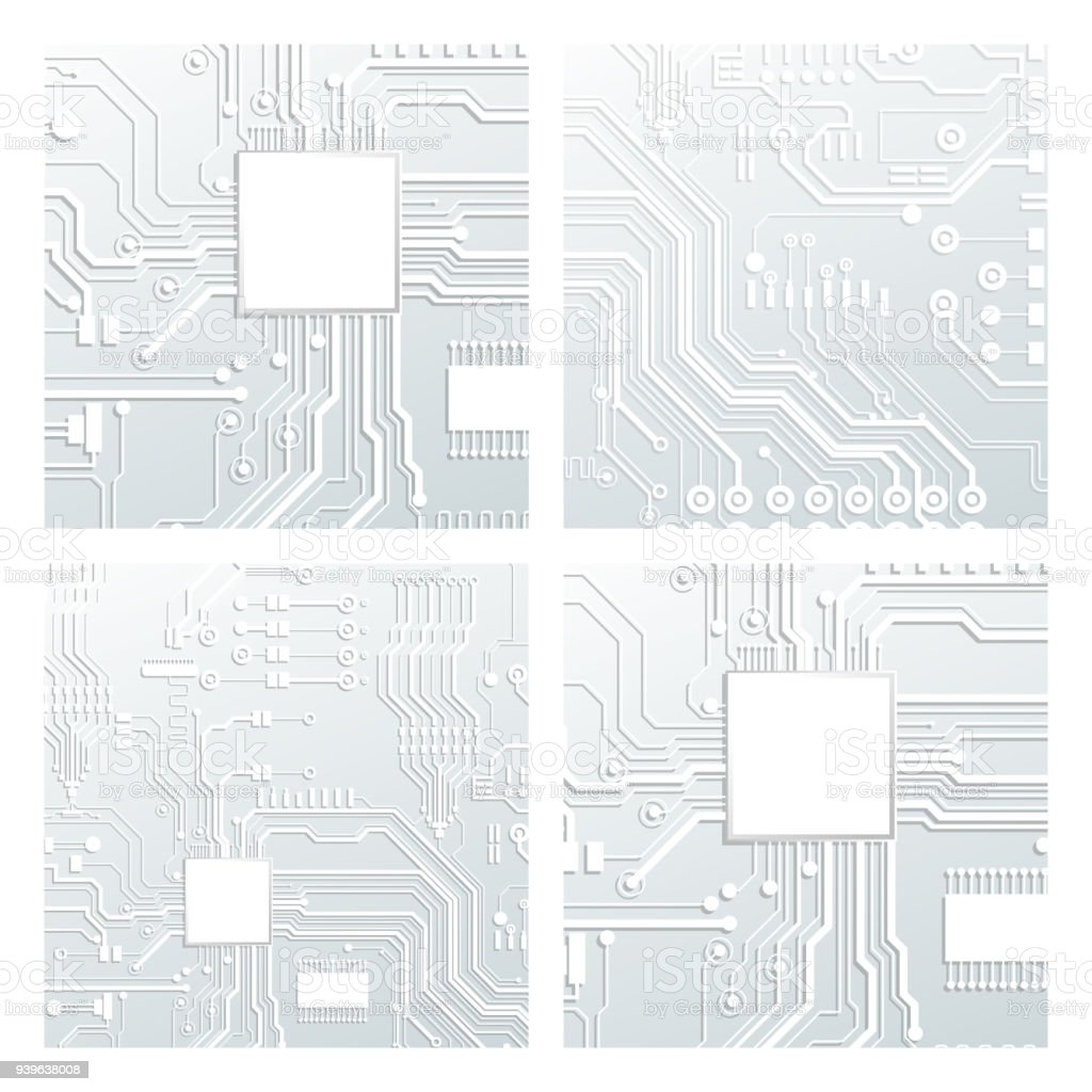Vector Circuit Board Illustration Abstract Technology Microchip Background Royalty Free