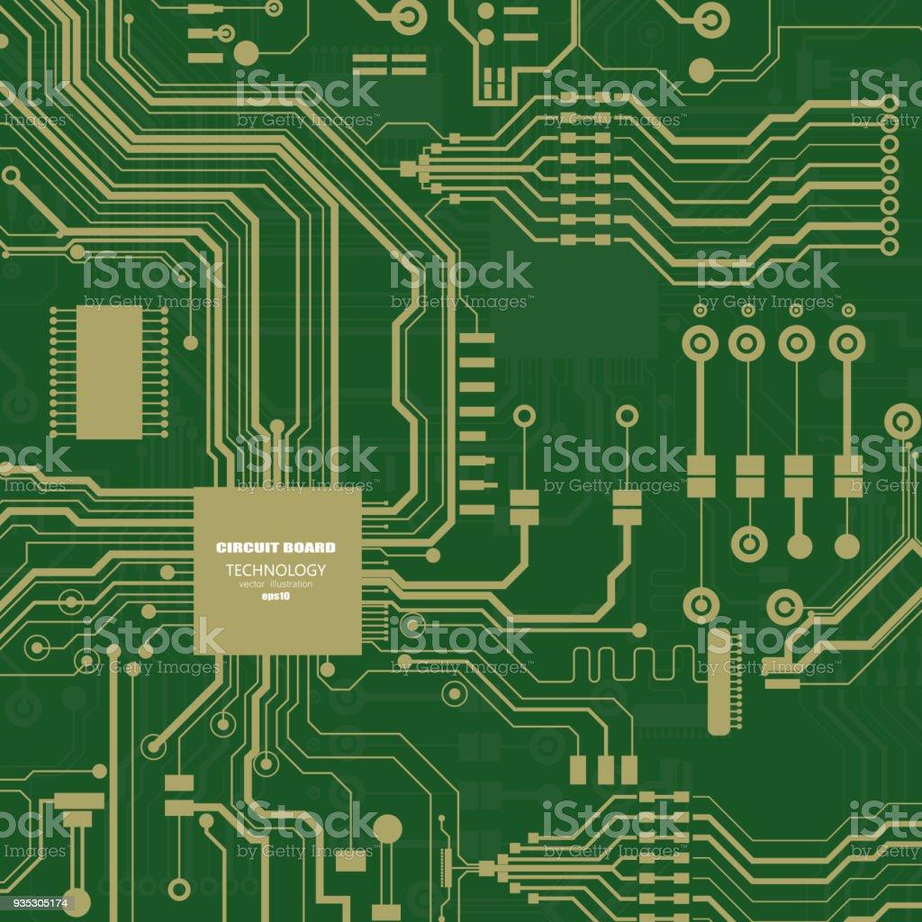 Vector Circuit Board Illustration Abstract Technology Stock Vector ...
