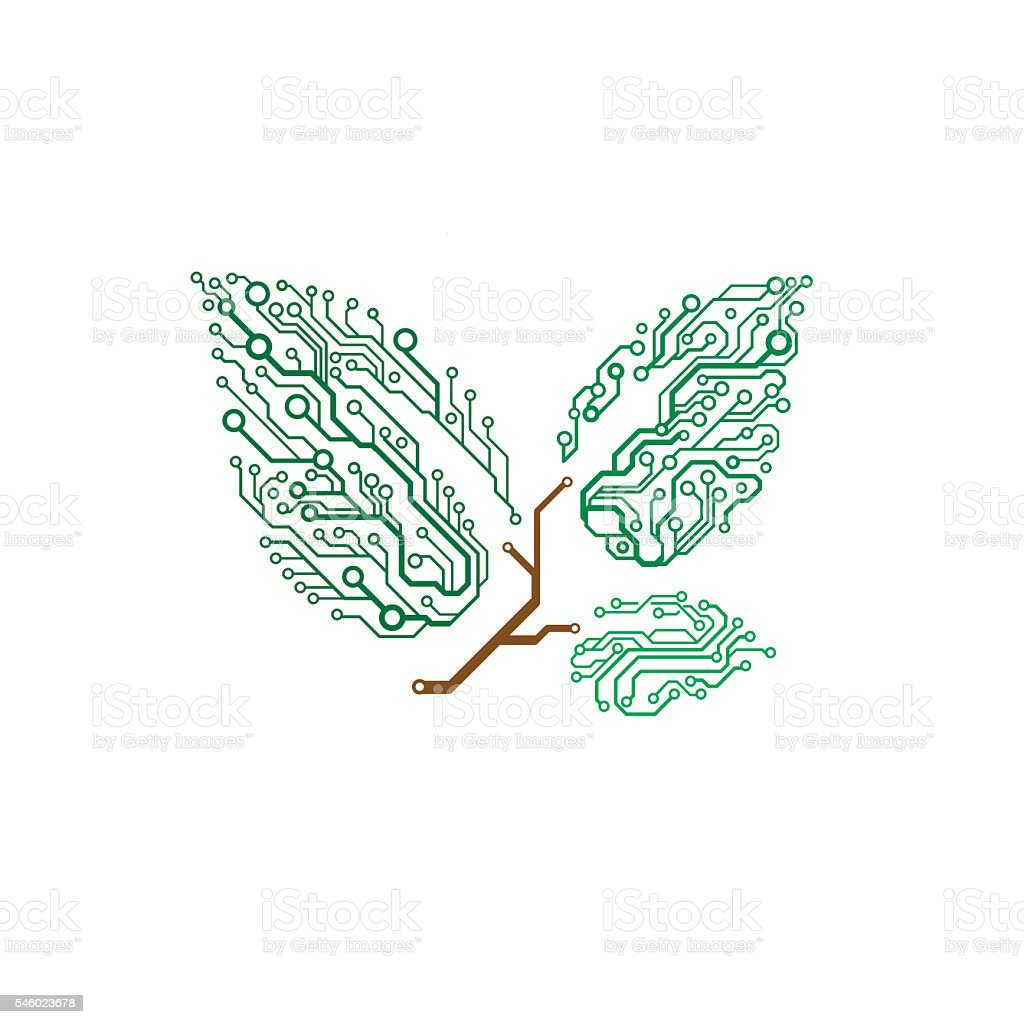 Vector Circuit Board Twig With Leaves Stock Vector Art & More Images ...