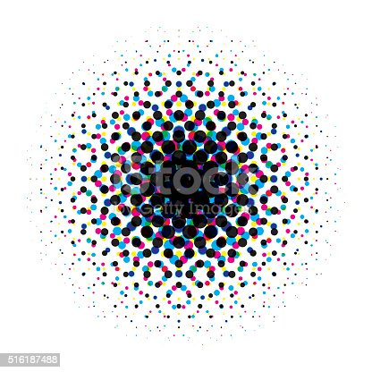 Pattern of cmyk dots forming a circular halftone gradient. At 100% size the dots pattern is 3 Dpi and it's formed from perfect circles. Each color is on a separated layer. AI EPS 10 file with transparency effect in cmyk color space. Transparency used.
