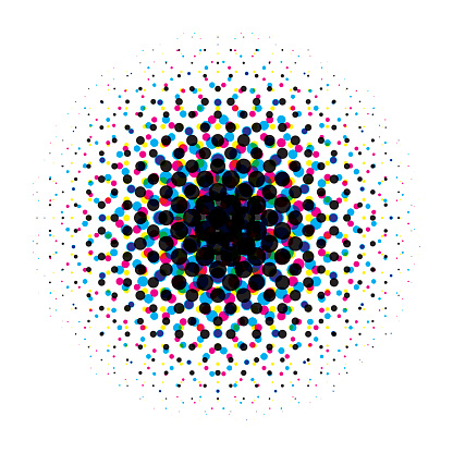 Vector circular halftone gradient with cmyk dots