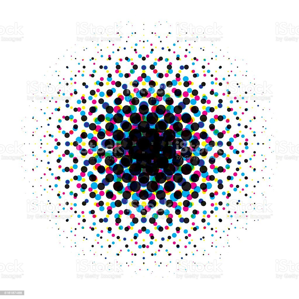 Vector circular halftone gradient with cmyk dots vector art illustration