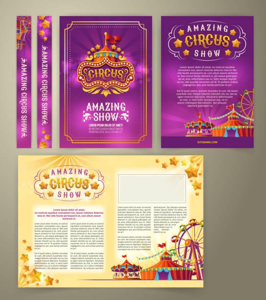 vector circus flyer, banner - circus stock illustrations