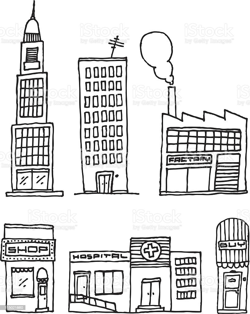 vector city buildings ink drawing stock vector art  u0026 more