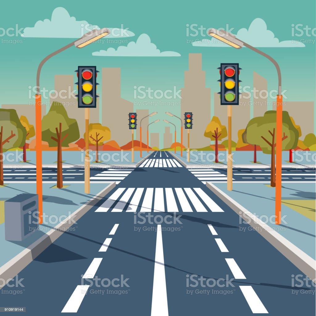 Vector city crossroad with traffic lights vector art illustration