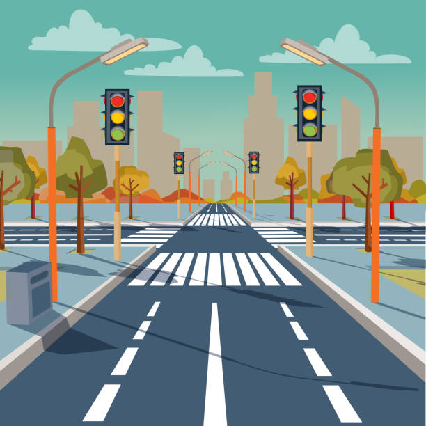 illustrazioni stock, clip art, cartoni animati e icone di tendenza di vector city crossroad with traffic lights - marciapiede