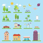 Vector city illustration in flat style. Icons and illustrations with buildings, houses and architecture signs. Ideal for business web publications, graphic design. Flat style vector illustration.